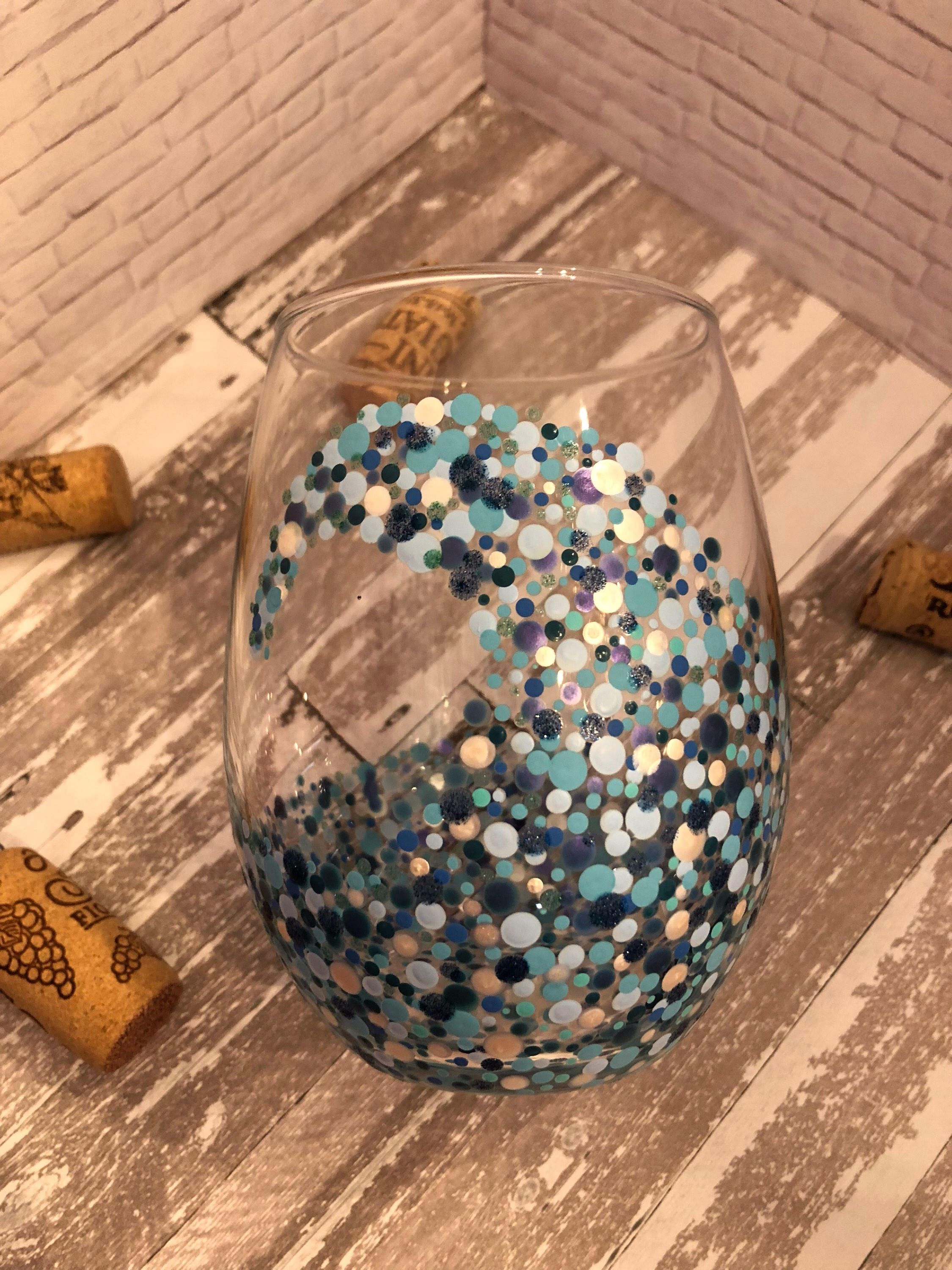 Ocean Wave Stemless Wine Glass Beautiful Sea Of Color Beach