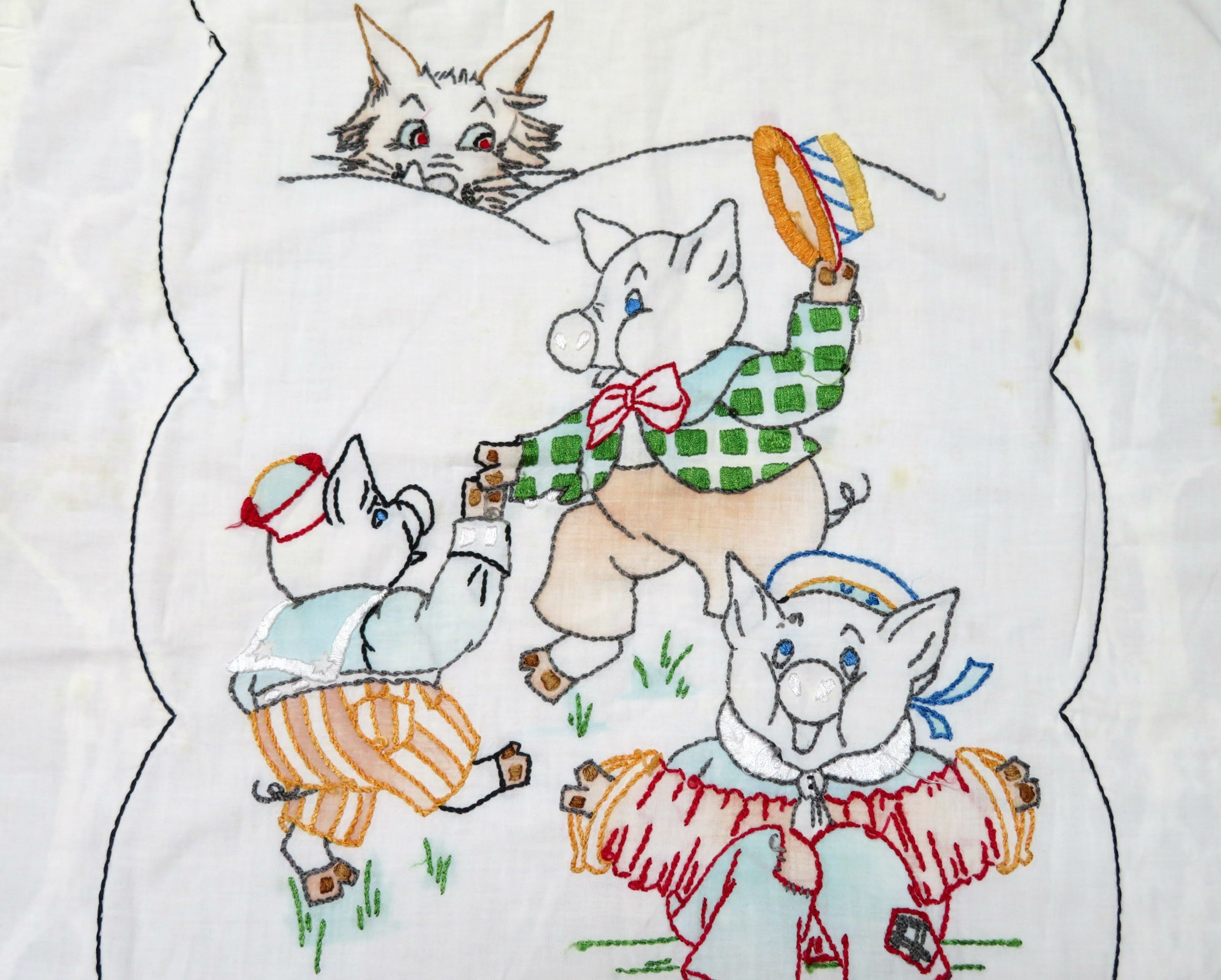 1950s hand embroidered baby blanket/bed cover, Three