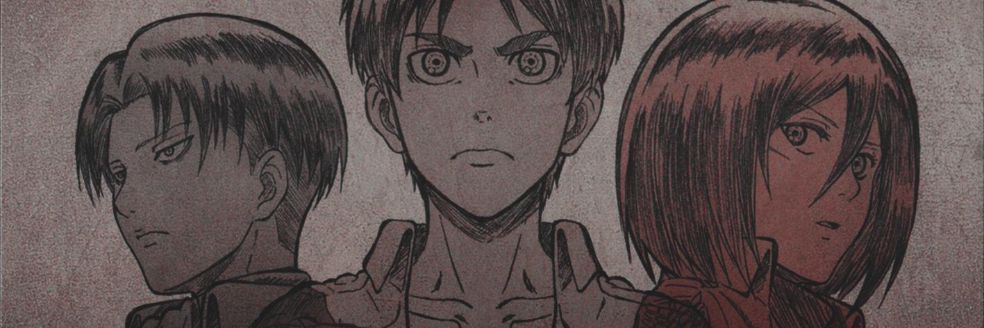 Shingeki no Kyojin header, Levi ackerman header, Eren