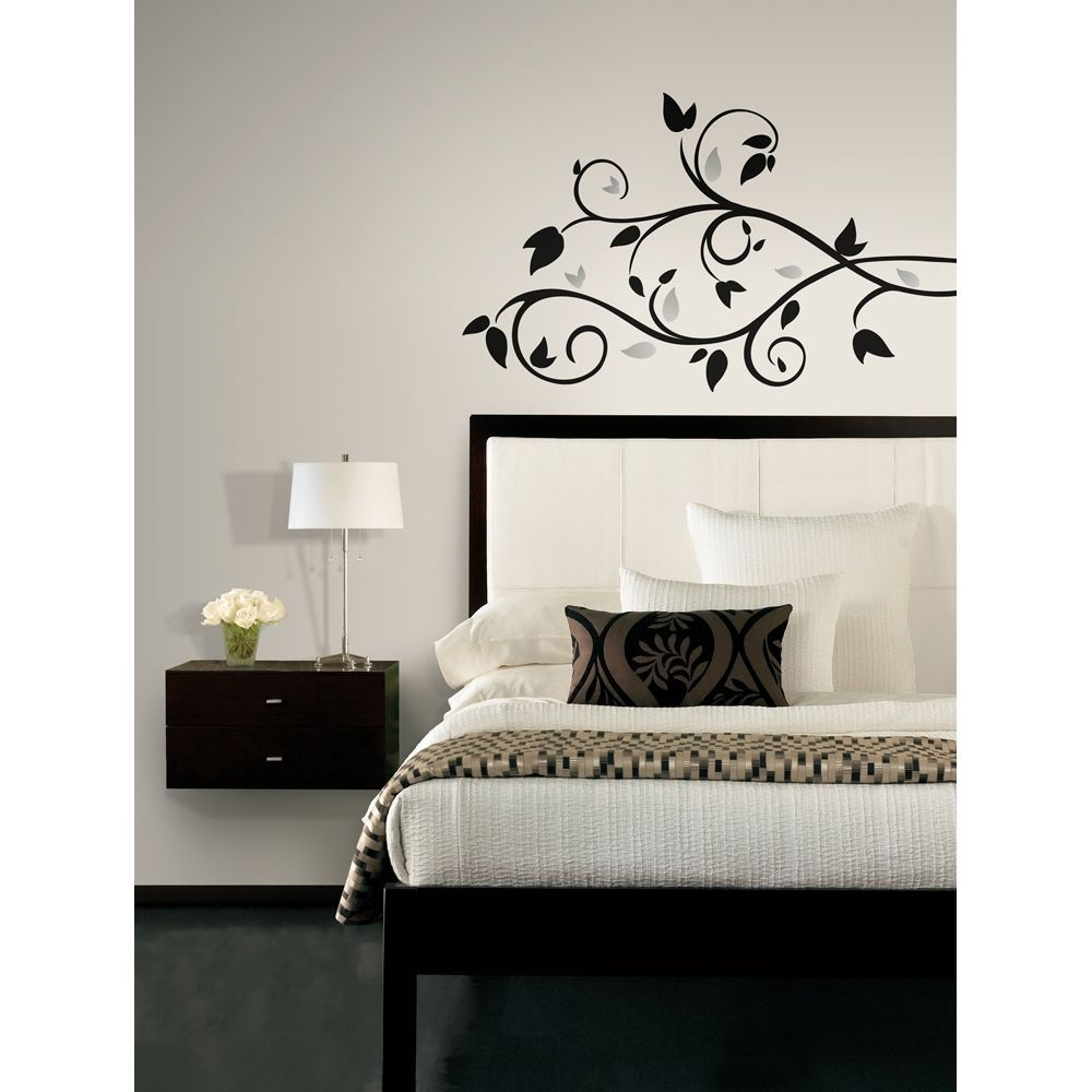 New black u silver tree branch wall decals leaves stickers modern