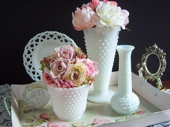 White Milk Glass Vases Wedding Vases Hobnail Milk Glass Vase