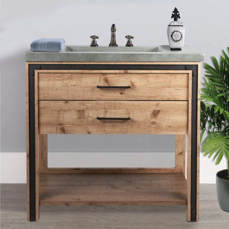 Incadozo 36 Inch Free Standing Vanity Sink With Faux Cement Top