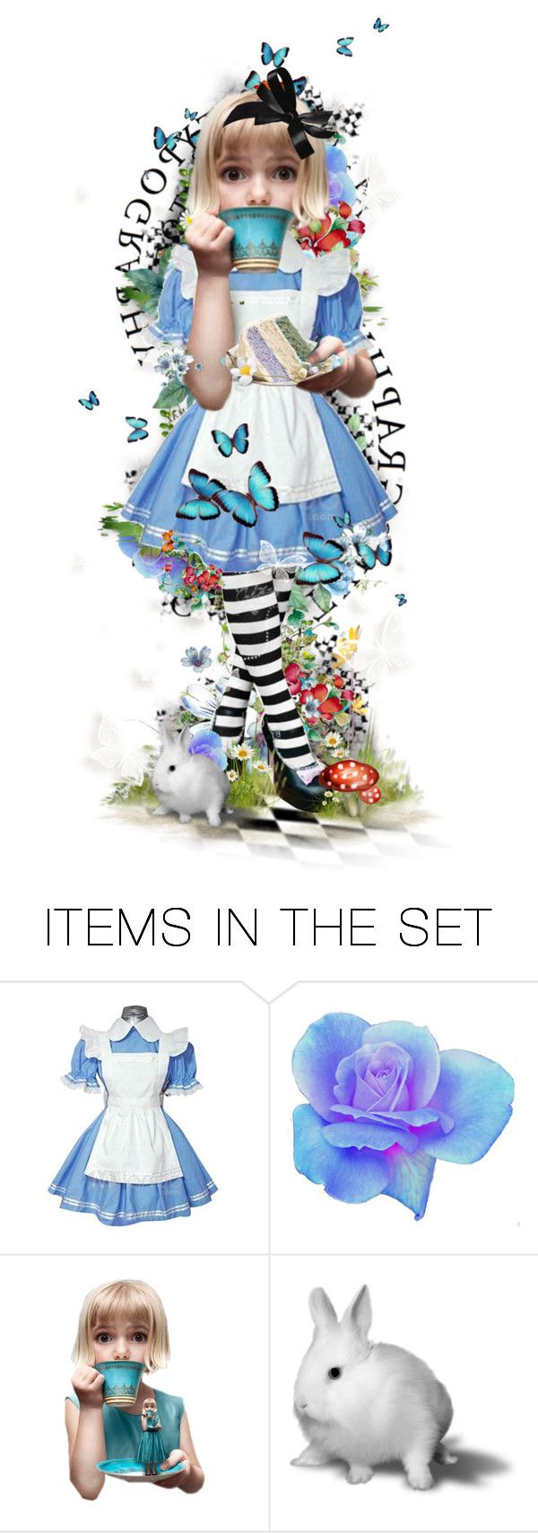 """""""Little Alice"""" by elsabear ❤ liked on Polyvore featuring art, alice, paper doll, white rabbit, wonderland, alice in wonderland and mad hatter"""