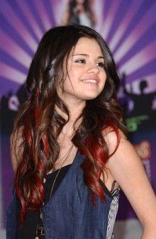 Red In Dark Hair Selena Gomez Hair Long Brunette Hair Long Hair Styles