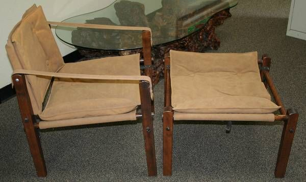 Mid Century Modern Safari Chair And Ottoman Gold Medal Arne Norell $350
