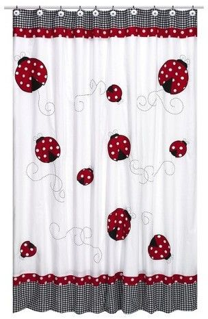 Sweet Jojo Designs Little Ladybug Shower Curtain Red White
