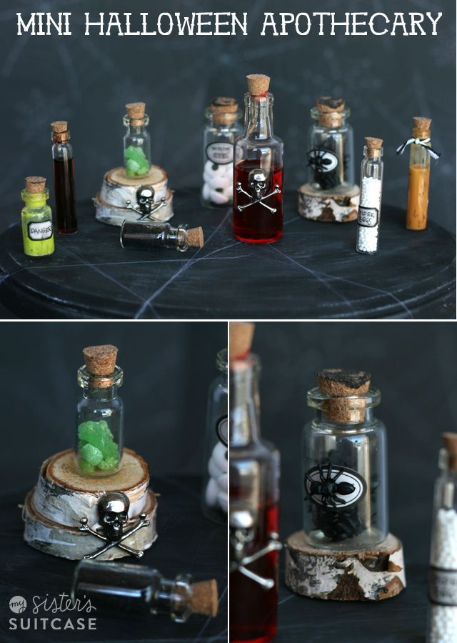 Mini Halloween Apothecary Jars from My Sister\u0027s Suitcase Halloween - halloween jar ideas