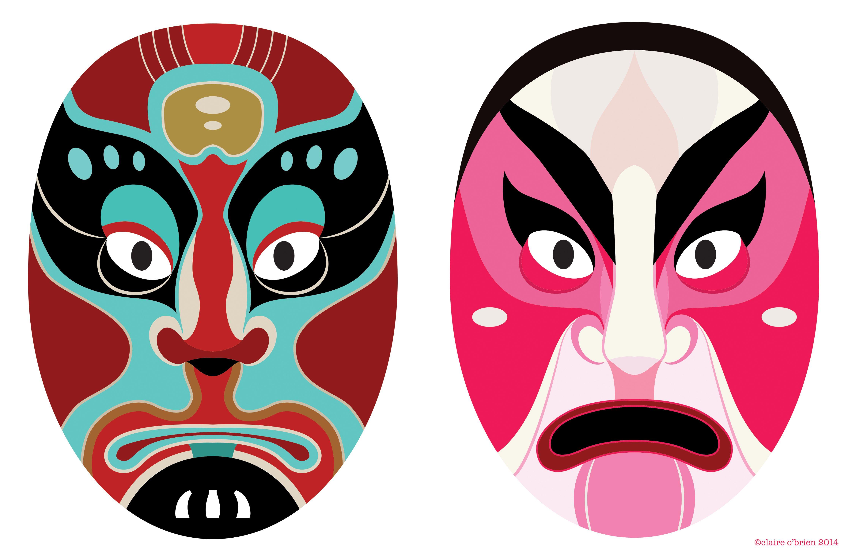 Chinese Opera Masks | My Illustration | Chinese opera mask ...