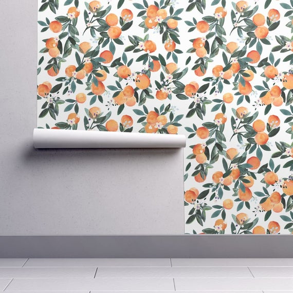 Citrus Wallpaper Dear Clementine Oranges On White By Crystal Walen Custom Printed Removable Self Adhesive Wallpaper Roll By Spoonflower In 2021 Spoonflower Wallpaper Peel And Stick Wallpaper Self Adhesive Wallpaper