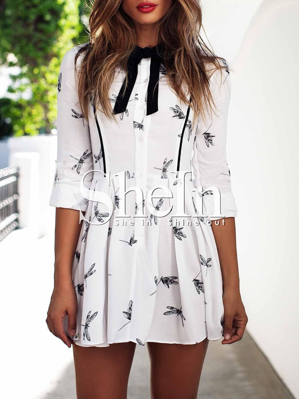 Vestido manga larga libélula -blanco 15.51