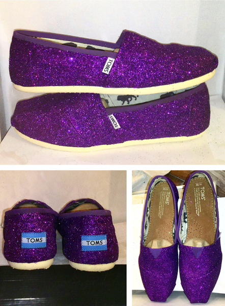 2acc26e418d2 Womens Sparkly Glitter Toms Shoes Purple Plum Regency Lapis Eggplant  wedding bride bridal - Glitter Shoe Co