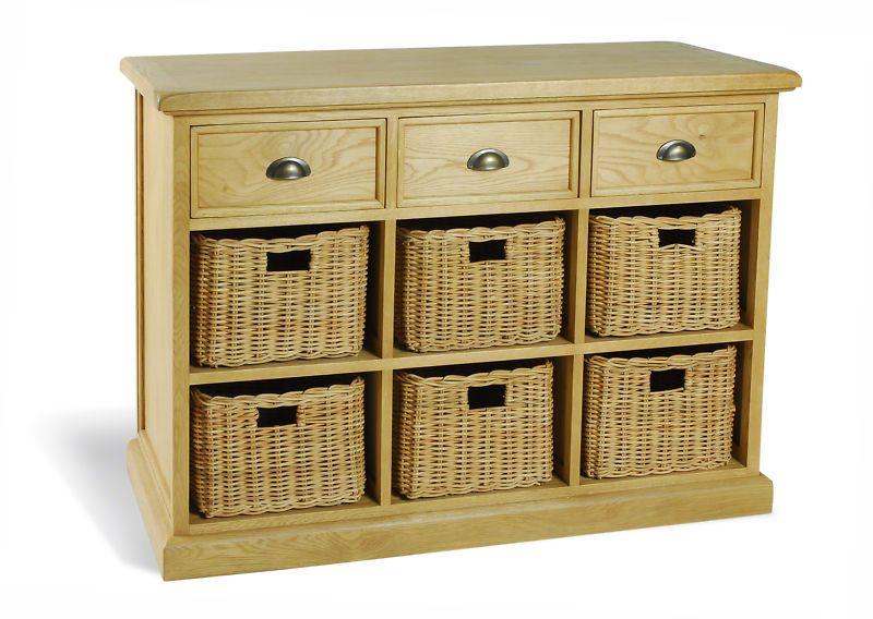 quality design 4ff35 b14fd furniture with baskets   Cottage Oak Sideboard With Basket ...