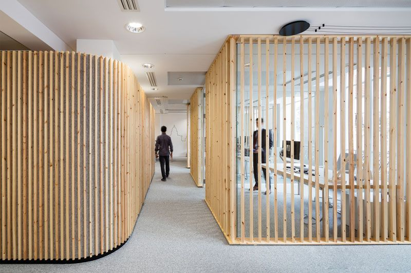 How to make a design impact using simple pieces of wood   Office in Paris, France