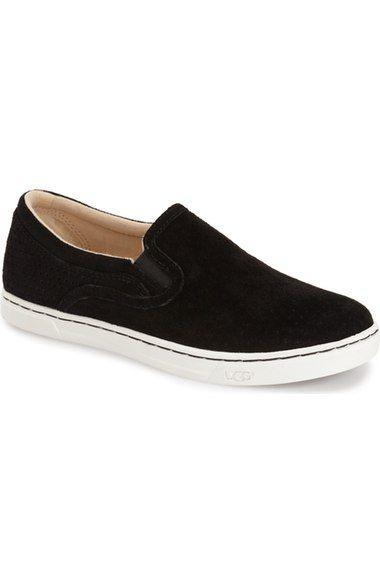 UGG Fierce Geo Perf Slip On Sneaker suede black, fuchsia, tawny sz7.5