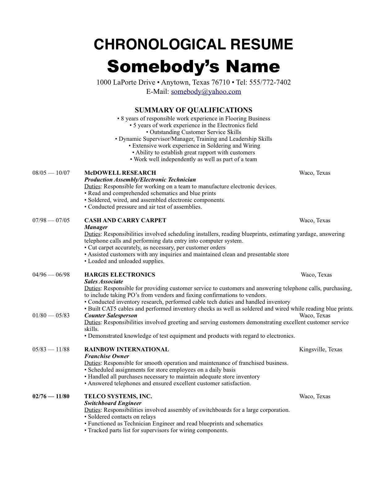 Resume Format Reverse Chronological Chronological resume