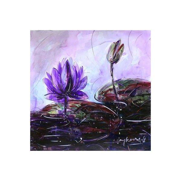 NOVICA Signed Original Watercolor Painting of Purple Lotus ...