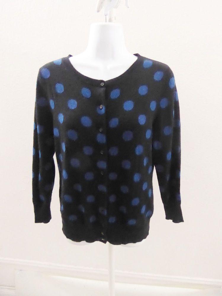 100 Cashmere Sweater Size M Black Blue Polka Dot Cardigan Womens