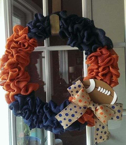 auburn denver broncos chicago bears illinois inspired burlap wreath handmade by welcomes to adore on etsy and www facebook com welcomestoadore