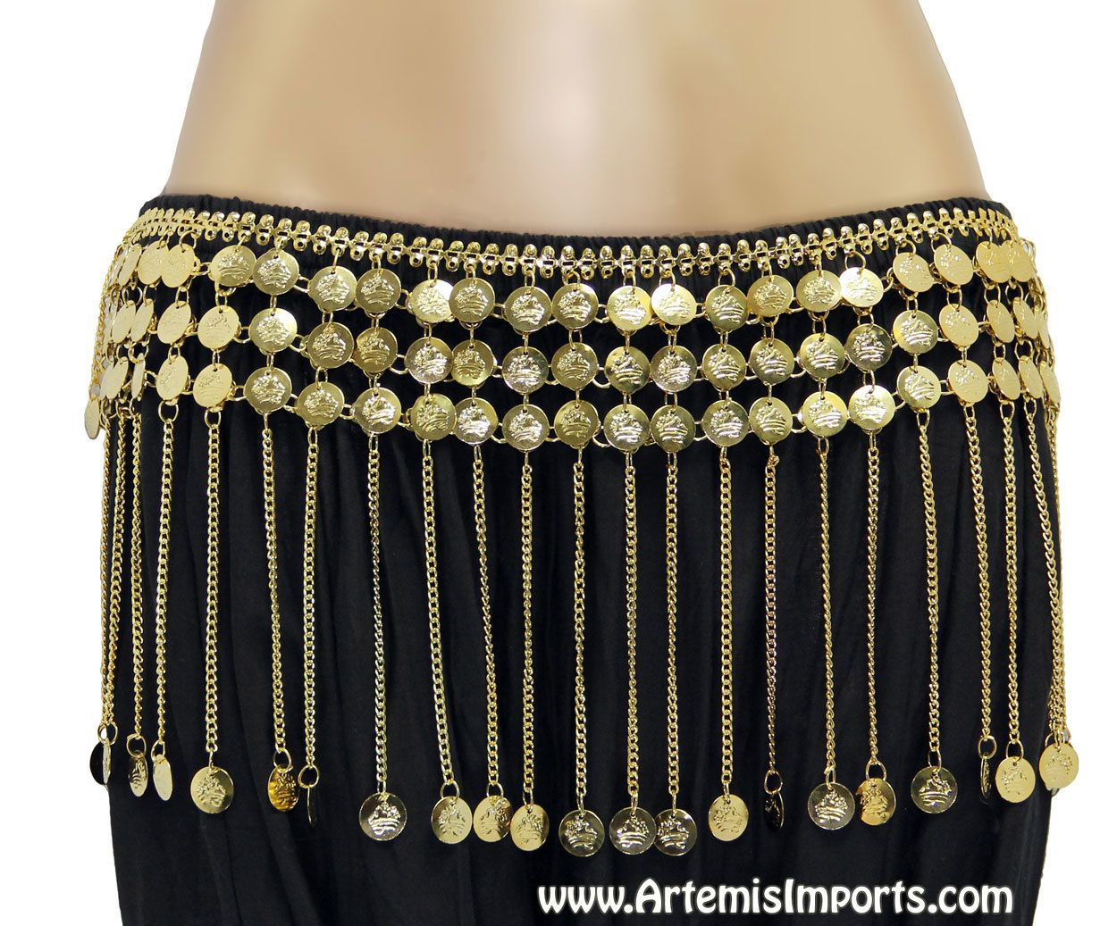 Belly Dance Coin Belt with Chain and Coin Fringe - Gold or Silver ... 5935f9719