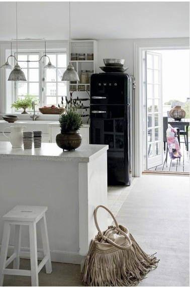 Retro Furniture Refrigerator Smeg Black Fridges Home Country