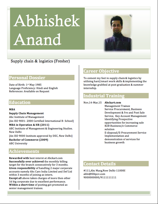 Resume for Freshers Engineers Resume examples, Resume