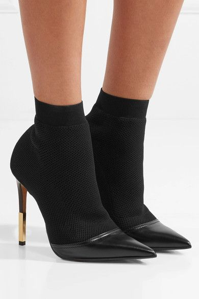 b5d88d373d625 BALMAIN Aurore beautiful leather-trimmed stretch-knit sock boots in ...
