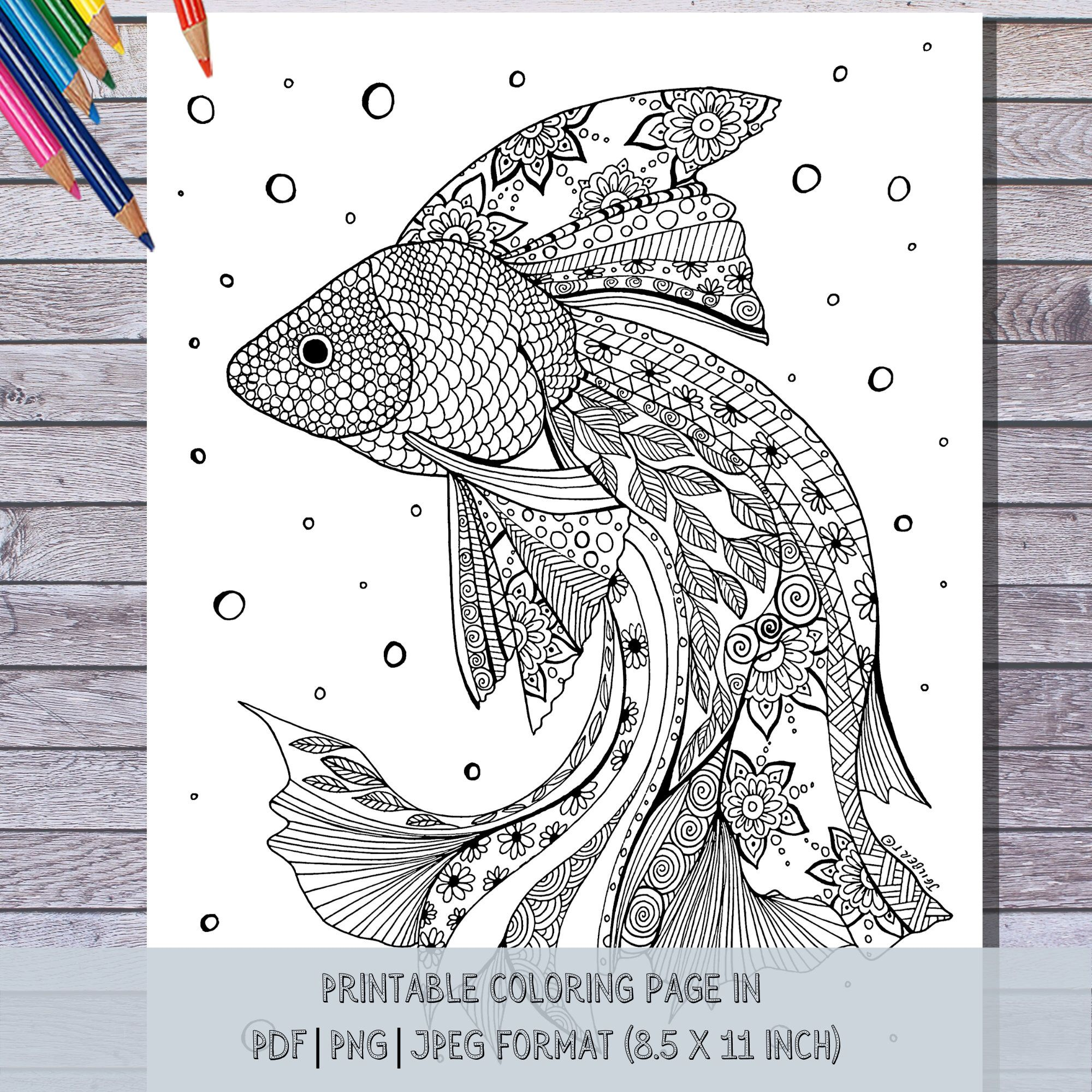 Printable Fish Coloring Page Instant Digital Pdf Download Etsy Fish Coloring Page Hand Illustration Coloring Pages