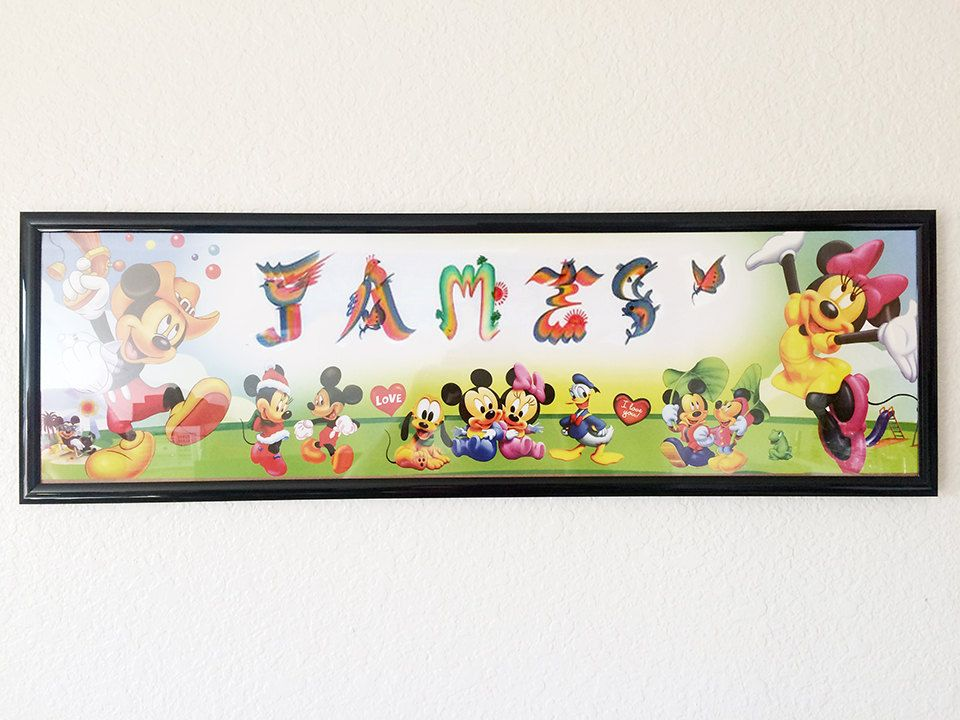 Personalized Name Art on Disney Character Micky Mouse Poster Framed ...