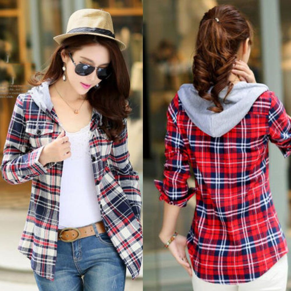 Women est Long Sleeve Tops Blouse Plaid Pattern Check Hooded