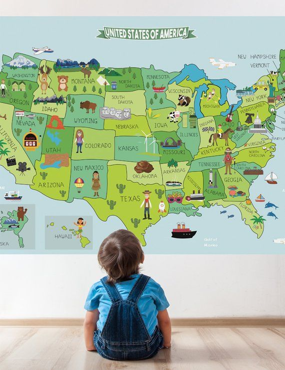 United States Map Wall Mural.Map Of United States Fabric Sticker Peel And Stick Removable Usa