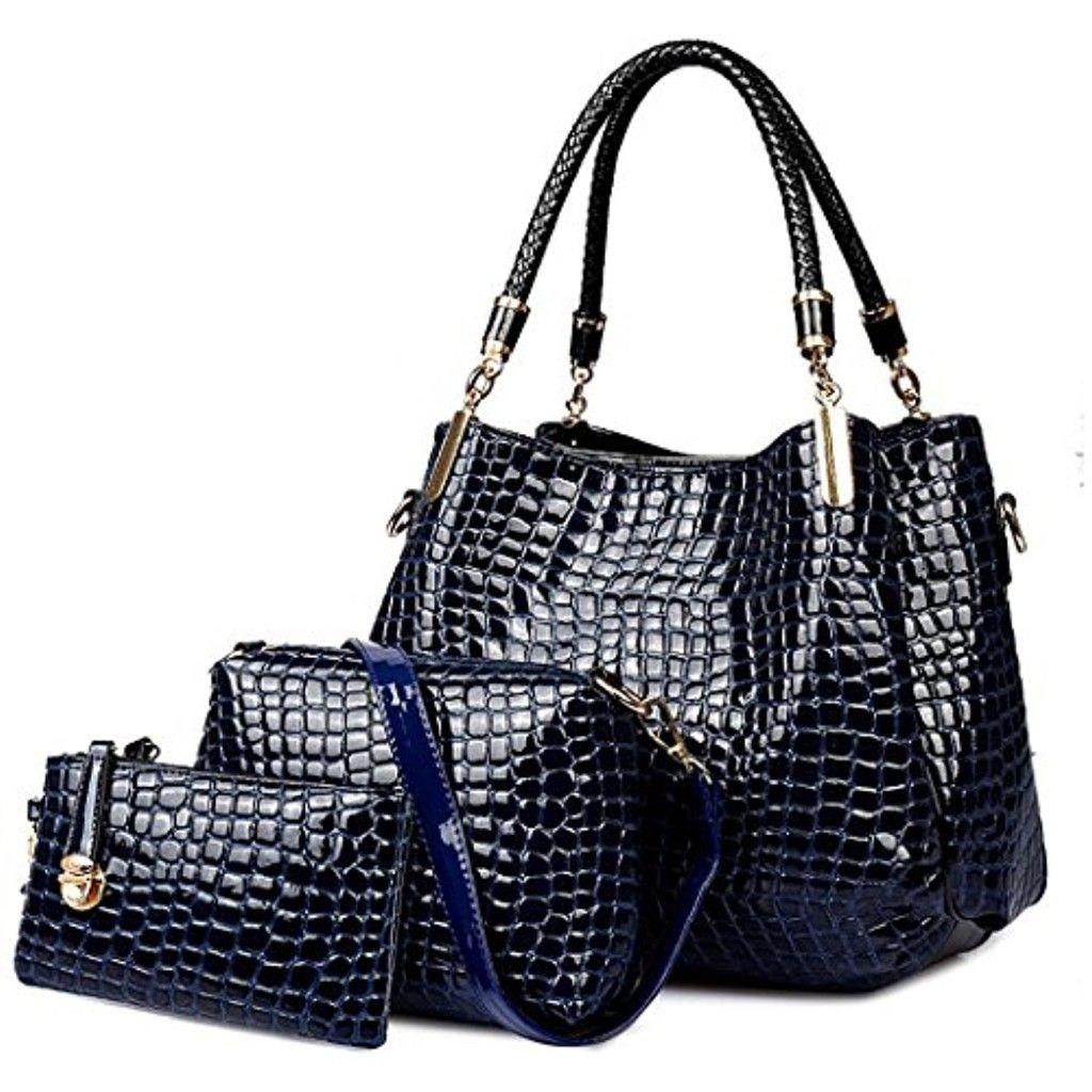 Crocodile Femmes sac en cuir Set Mesdames Hobo Sac bandoulière et Sac à  main Vin 2016
