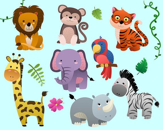 Cute Jungle Animals Clip Art Set Of 14 Png Jpg And Vector Etsy Clip Art Animal Clipart Animal Coloring Pages