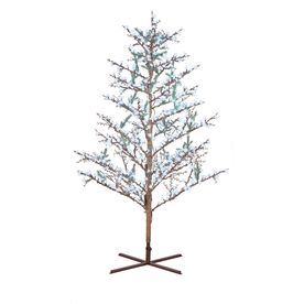GE 8-ft Indoor/Outdoor Winterberry Pre-Lit Artificial Christmas ...