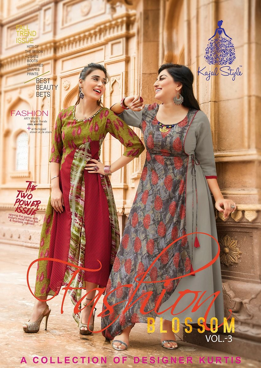 9ebd7ac14b8 Kajal Style Fashion Blossom Vol 3 Fancy Flair Printed Weightless Georgette  Readymade Kurtis at Wholesale Rate