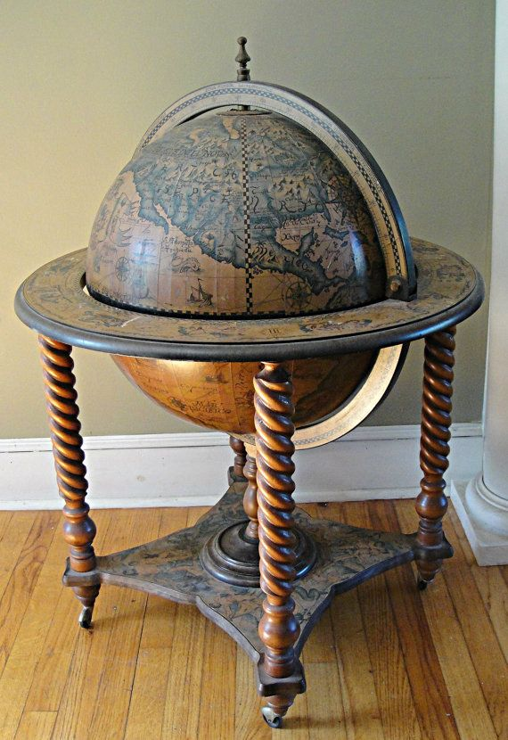 I LOVE MAPS. This will be one of my first projects once the main house is  built. 'antique globe hidden liquor cabinet' - Cocktail Bar Globe 1970 Rotating 1578 Antique Reproduction Hidden