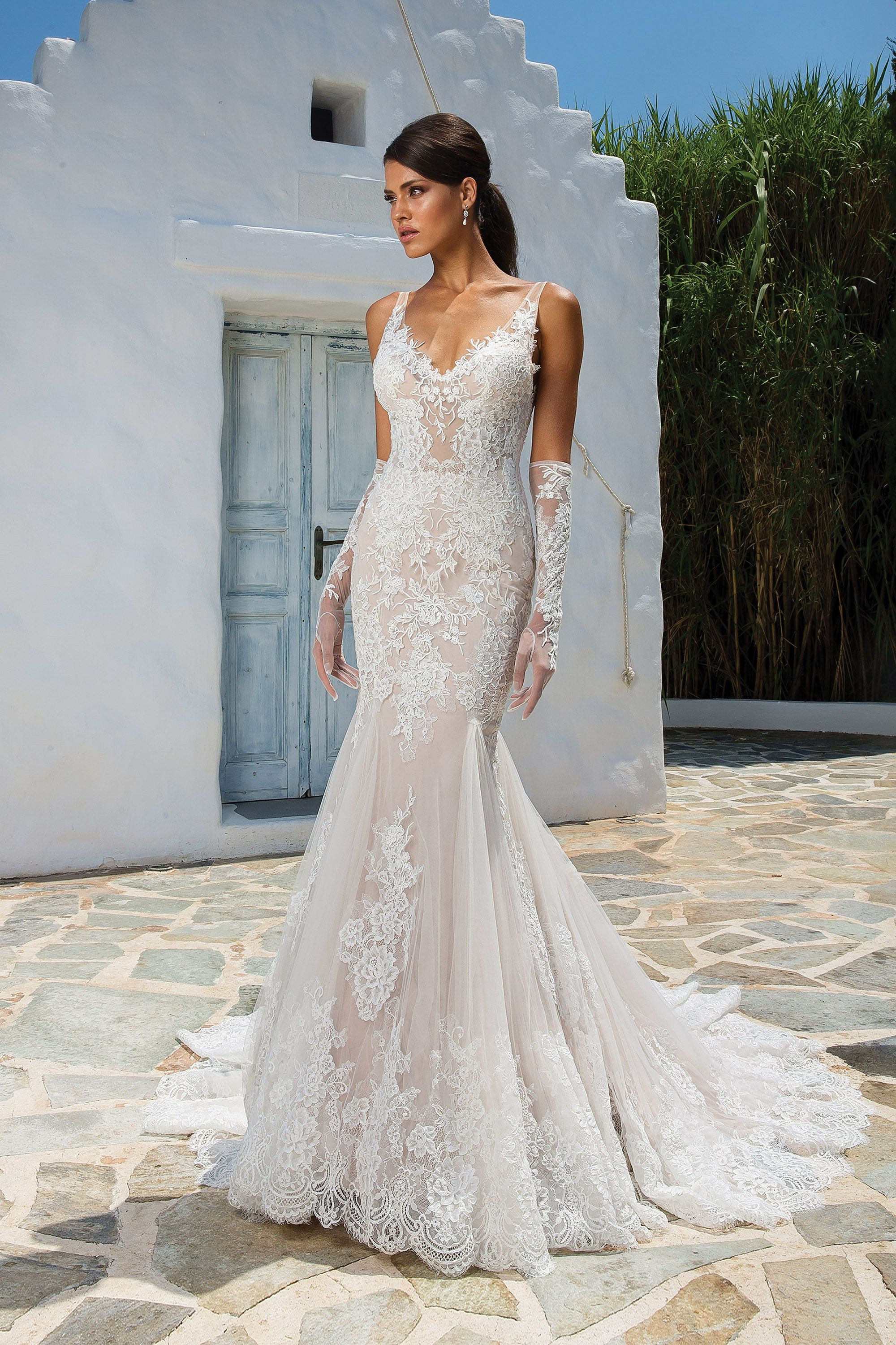 Lace fit and flare wedding dress with sleeves  Justin Alexander  Allover Lace Fit and Flare Gown with Illusion