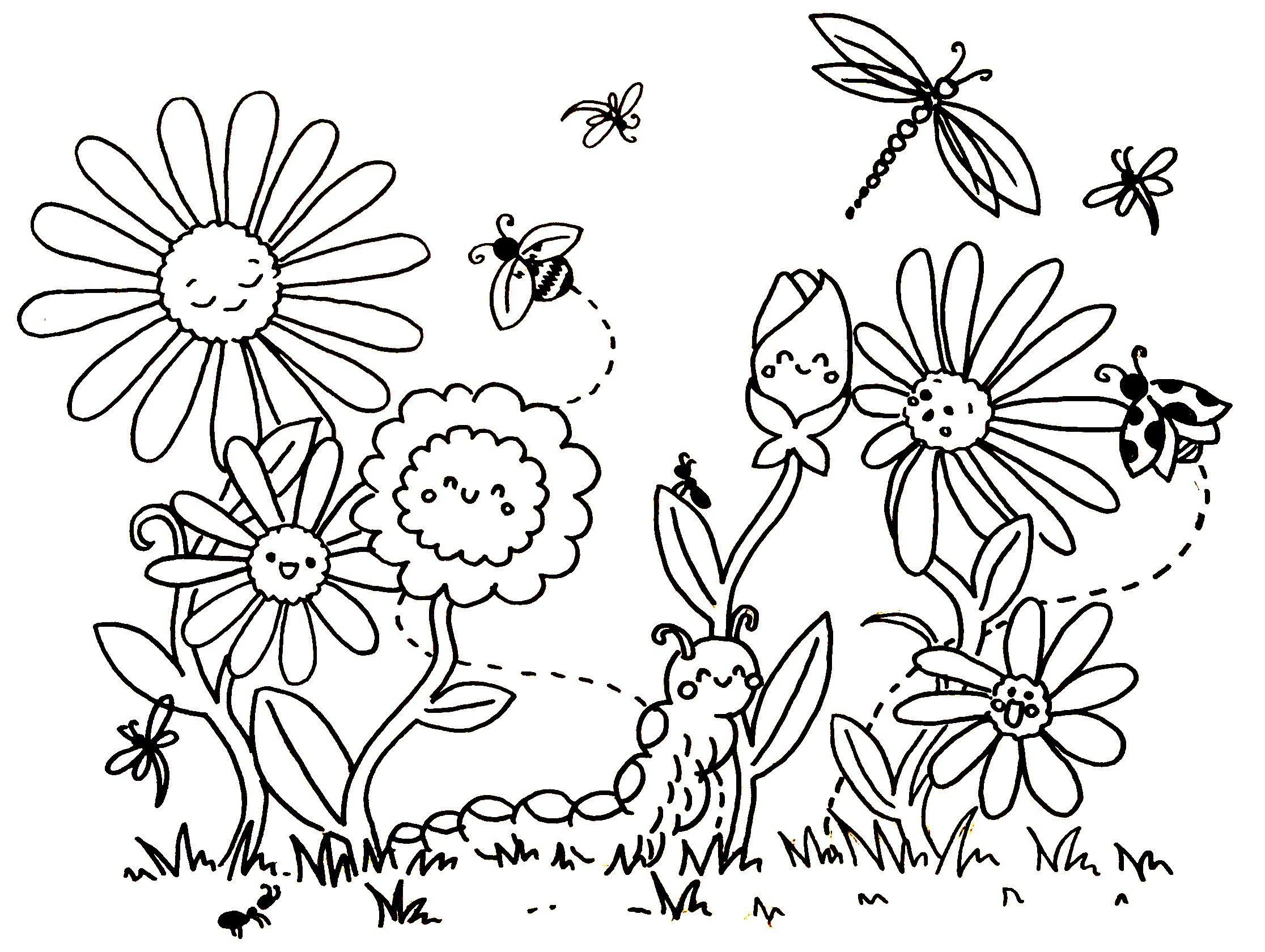 Ausmalbilder Blumenwiese Zum Ausdrucken  Blumen ausmalen