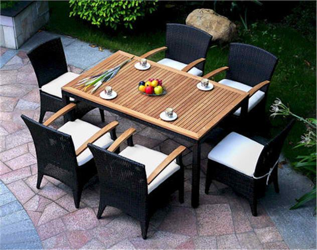 Bellagio Dining Set Table Chairs Rattan Teak Patio Set