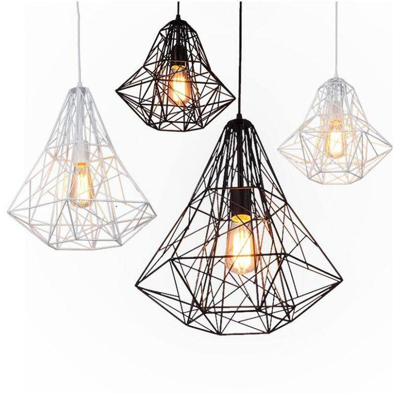 Post Modern Blac White Iron Bird Cage Pendant Lights Nordic Creative Lamps For Dining Room Restaurant Ba Cage Pendant Light Simple Pendant Light Creative Lamps