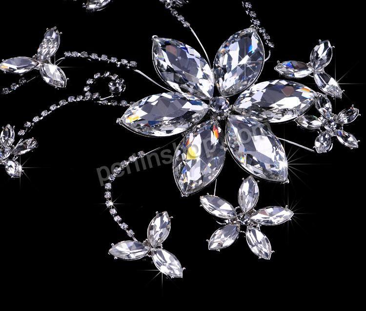 Braut Haar Blumen, Kristall, mit Zinklegierung, mit österreichischem Strass, Kristall, 230x140mm, verkauft von Stück - perlinshop.com