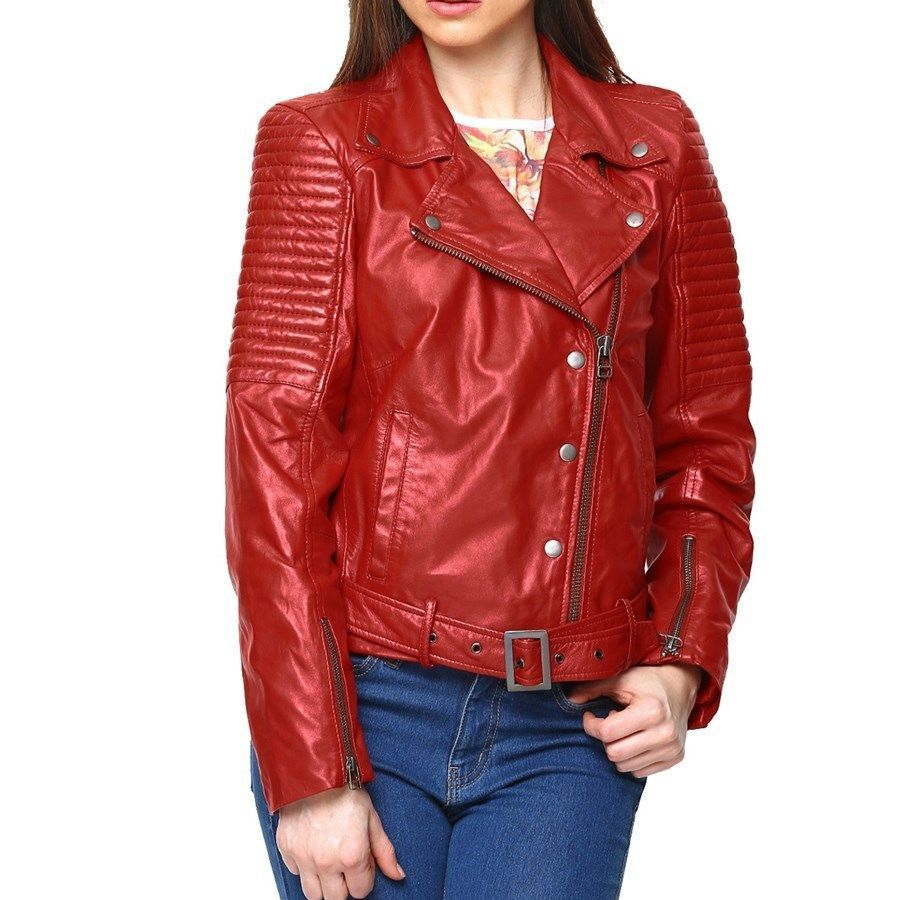 New Leather Bomber Biker Jacket For Women S Black Red Brown Naaz