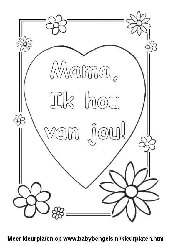 Kleurplaten Over Moederdag.Kleurplaat Hart Valentijn Moederdag Vaderdag Moederdag