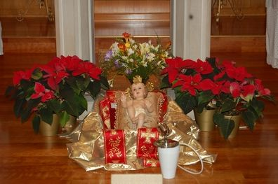 Infant Jesus figurine at Christmas time.