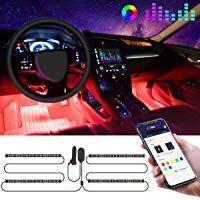 Interior Car Lights Govee Car LED Strip Light Upgrade Two-Line Design Waterproof 4pcs 48 LED APP Controller Lighting Kits Multi DIY Color Music Under Dash Car Lighting with Car Charger DC 12V