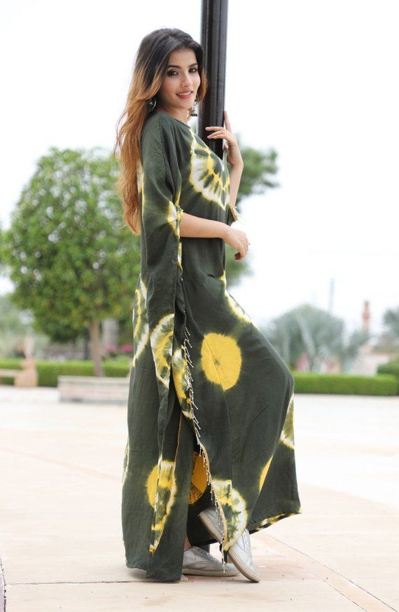 a338e37448 Women's & Girl's Clothing Tie-Dye Flared Print Long Maxi Dress Rayon Fabric  Kurtis for Women by Keep