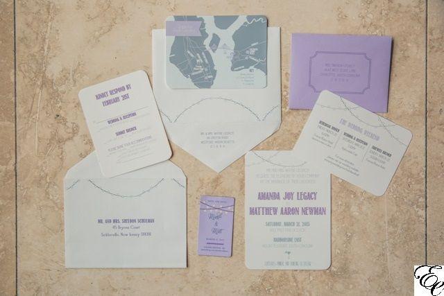 Custom Stationary | Purple Wedding | Cafe Lights | Dodeline Design