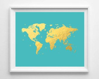 Printable world map print gold foil print world map poster instant printable world map print gold foil print world map poster instant download nursery wall art kids room wall art travel poster turquoise gumiabroncs Gallery