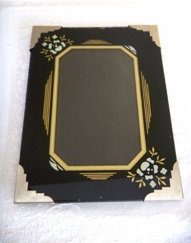 Corner Photo Frames antique art deco reverse painted glass picture frame metal corner