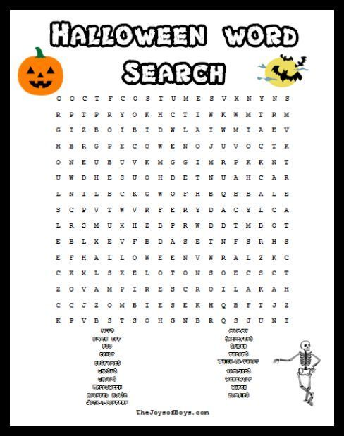 halloween word search spooky fun for a halloween party - Printable Halloween Word Searches