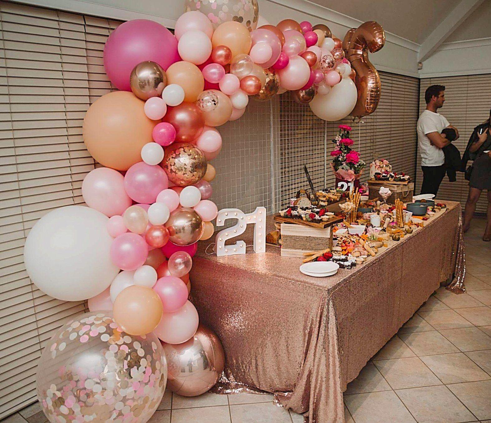 21st Birthday Dessert Table And Balloon Backdrop By Stylish Soirees Perth Balloongarlan Dessert Table Birthday 21st Birthday Decorations 21st Birthday Dessert